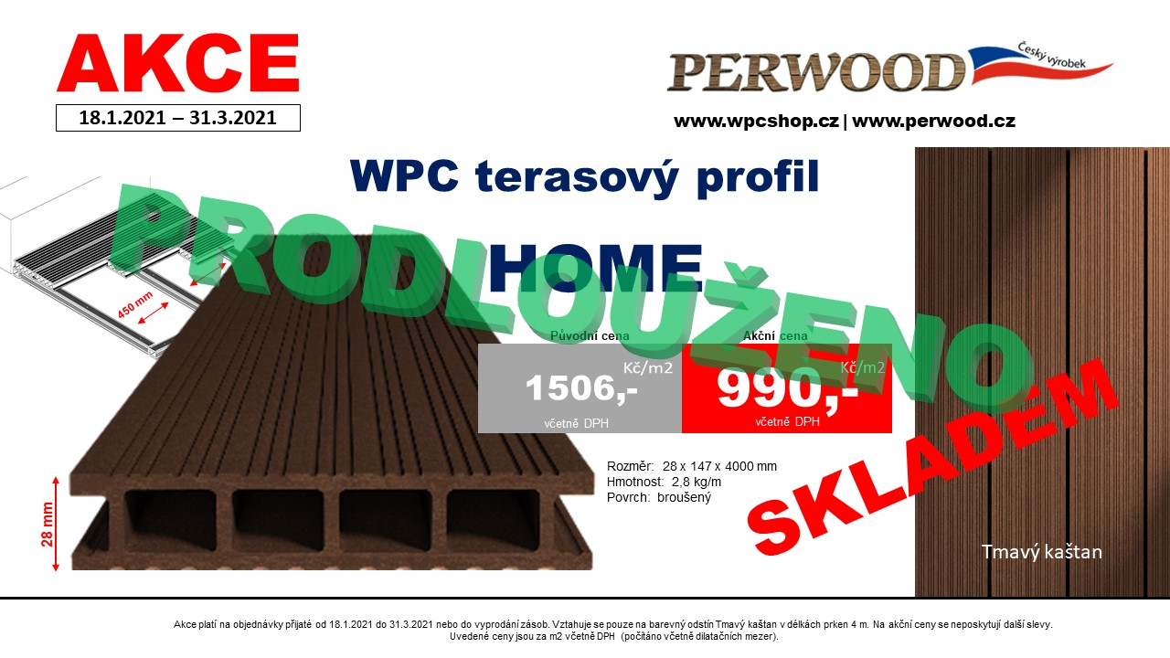 WPC terasové prkno HOME za 990 Kč/m²